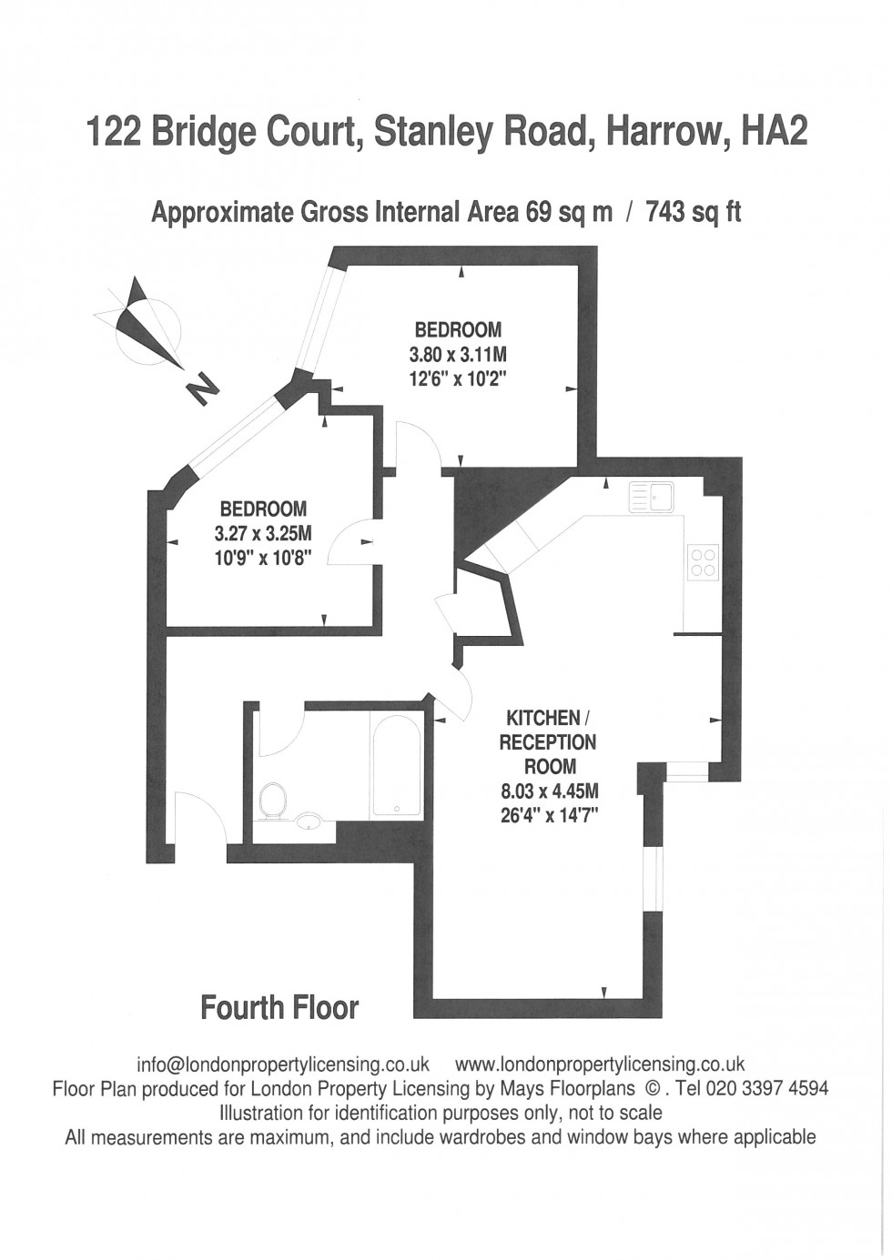 Floorplan for Bridge Court,Stanley Road, Harrow