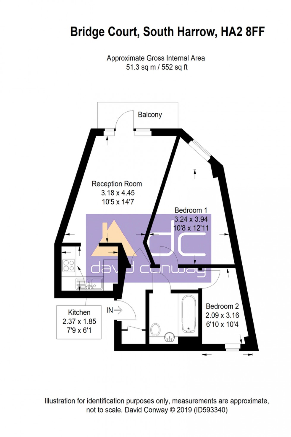 Floorplan for Bridge Court, Stanley Road, HA2 8FF